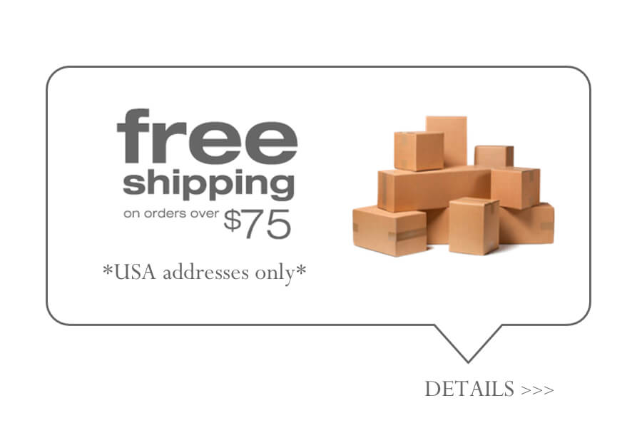 GabyB offers FREE SHIPPING within the U.S. on all orders over $75