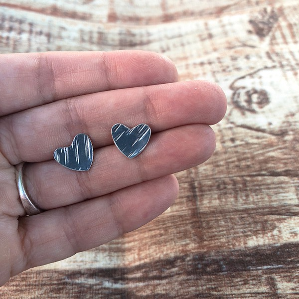 Heart Studs   Heart Earrings   Concave or Flat Hearts